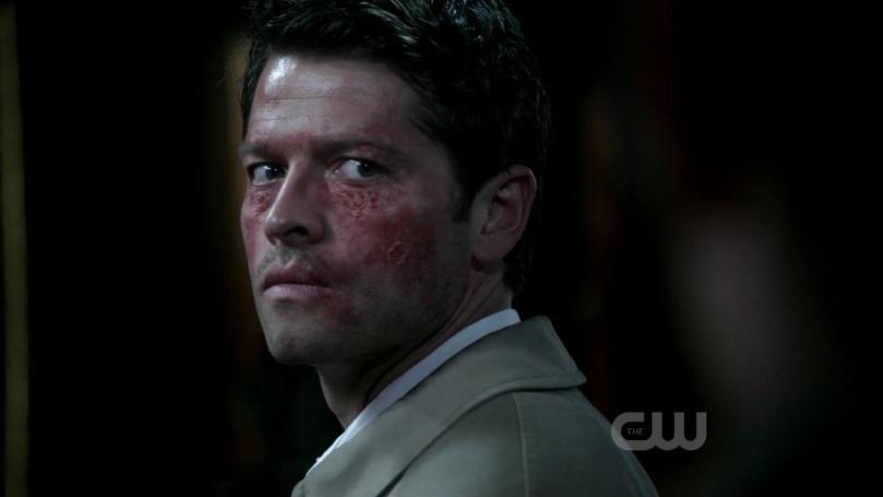 Castiel 難以置信的看著 Dean,因為 Dean 咆哮著要死神不管三七二十一當場殺掉他