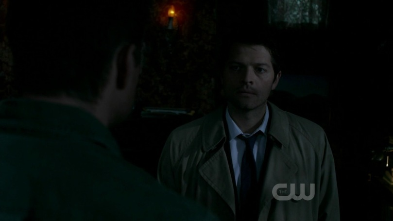 Castiel and Dean have an argument.