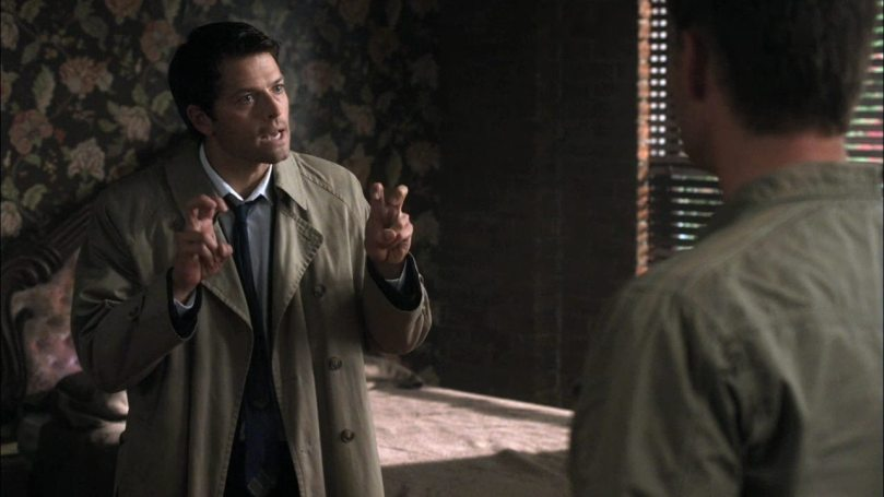 "Castiel: Sam, Dean, my ""people skills"" are ""rusty."" Pardon me, but I have spent the last ""year"" as a multidimensional wavelength of celestial intent."