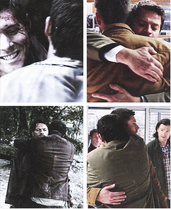 你可以看到 Castiel 閉上眼超思念的模樣,也可以看到 Dean 單手環著 Castiel 的樣子