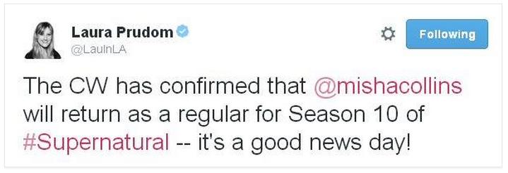 Misha 確定會是 Supernatural Season 10 裡面成為 Regular 演員