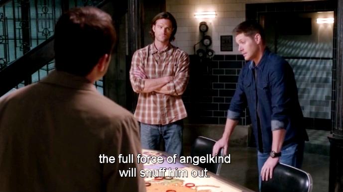 Sam 一副就是「你男朋友心軟的毛病又犯了,你自己看著辦吧!」;Dean 則是一副「饒了我吧你這輕易相信人的毛病怎麼還沒改啊」的臉!